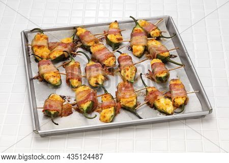 Jalapeno poppers  just taken out of the oven.