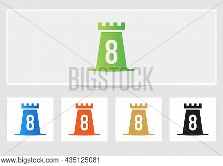 Castle Logo On Letter 8. Castle King Logo Design Initial 8 Letter Concept Vector Template