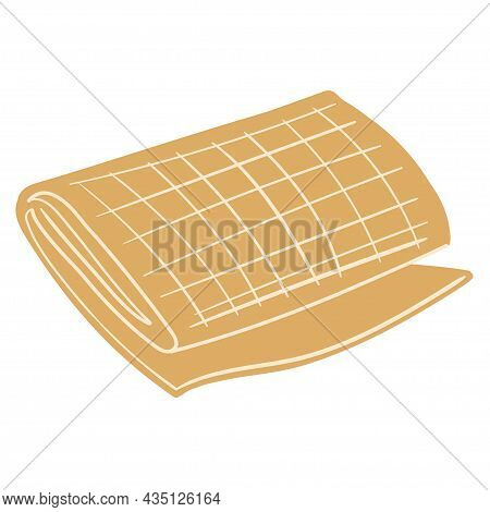 The Rolled Up Yellow Ochre Blanket Doodle Hygge Illustration Isolated On White, The Concept Of A Coz