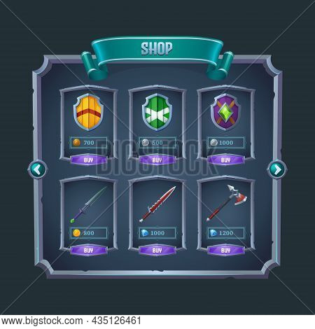 Rpg Game Shop Menu Panel With Medieval Weapon, Swords, Axe And Shields In Metal Frames. Cartoon Vect