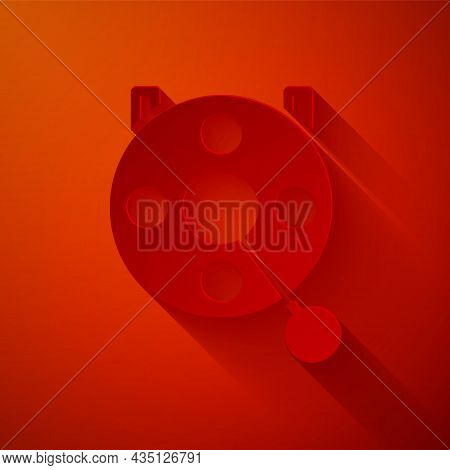 Paper Cut Spinning Reel For Fishing Icon Isolated On Red Background. Fishing Coil. Fishing Tackle. P