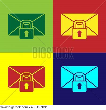 Pop Art Mail Message Lock Password Icon Isolated On Color Background. Envelope With Padlock. Private
