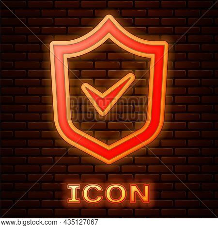 Glowing Neon Shield With Check Mark Icon Isolated On Brick Wall Background. Security, Safety, Protec