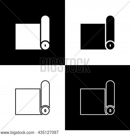 Set Fitness Mat Roll Icon Isolated On Black And White Background. Yoga Mat Rolled. Sport Equipment.