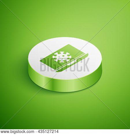 Isometric Virus Statistics On Laptop Icon Isolated On Green Background. Corona Virus 2019-ncov. Bact