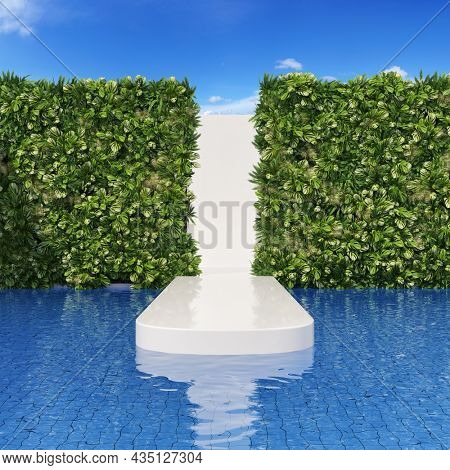 Fashion runway for shows in an exotic location with pool and vertical gardens. 3D illustration, rendering.