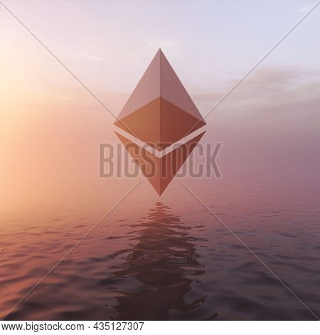 Surreal background cryptocurrency ethereum. Cryptocurrency symbol flying over seascape. Blockchain technology concept. 3D illustration, rendering.