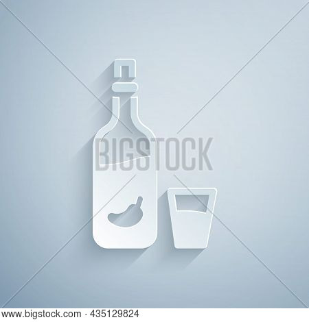 Paper Cut Vodka With Pepper And Glass Icon Isolated On Grey Background. Ukrainian National Alcohol.