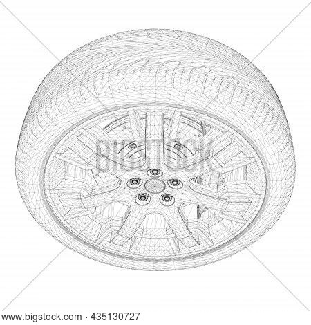Car Wheel Wireframe From Black Lines Isolated On White Background. 3d. Vector Illustration