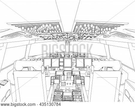 The Contour Of The Aircraft Cockpit From The Inside From Black Lines Isolated On A White Background.