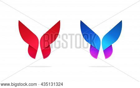 Butterfly Logo Geometric Symmetric Gradient Style Vector Logotype Template Design In Blue Purple Vio