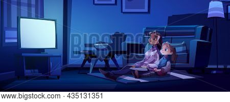 Mother And Daughter Watch Tv At Dark Room. Family Night Recreation, Home Cinema Entertainment. Woman