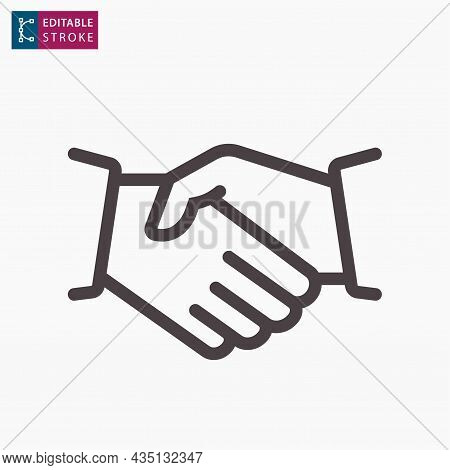 Shaking Hands Line Icon On White Background. Editable Stroke.