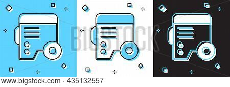 Set Portable Power Electric Generator Icon Isolated On Blue And White, Black Background. Industrial