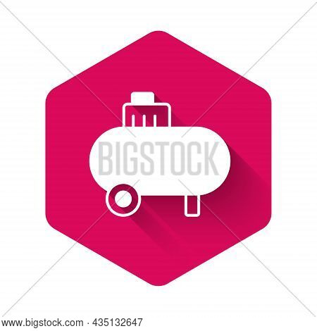 White Air Compressor Icon Isolated With Long Shadow Background. Pink Hexagon Button. Vector