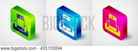 Isometric Metal Detector In Airport Icon Isolated On Grey Background. Airport Security Guard On Meta