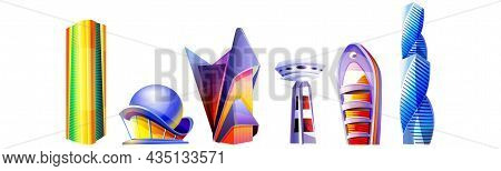 Cartoon Set Futuristic Buildings Unusual Shapes With Glass Facade And Domes Isolated On White Backgr