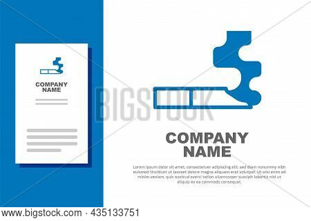 Blue Cigarette Icon Isolated On White Background. Tobacco Sign. Smoking Symbol. Logo Design Template