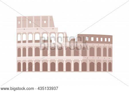 Ancient Colosseum Building. Roman Coliseum In Italy. Old Italian Architecture. Great Rome Landmark.
