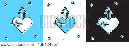 Set Heartbeat Increase Icon Isolated On Blue And White, Black Background. Increased Heart Rate. Vect