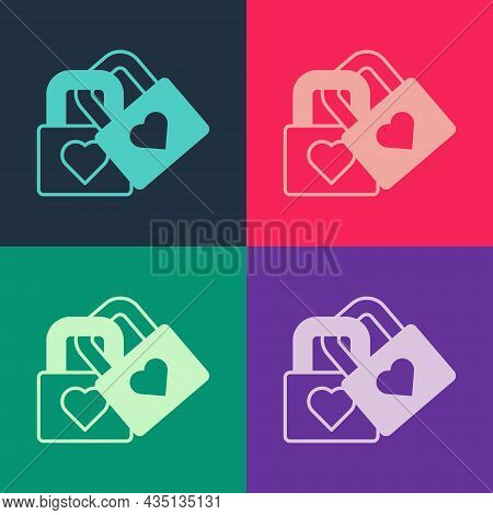 Pop Art Lock With Heart Icon Isolated On Color Background. Locked Heart. Love Symbol And Keyhole Sig