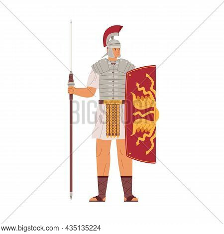 Roman Warrior Armored With Spear And Shield. Ancient Legionary Soldier In Mohawk Helmet. Armoured Ma