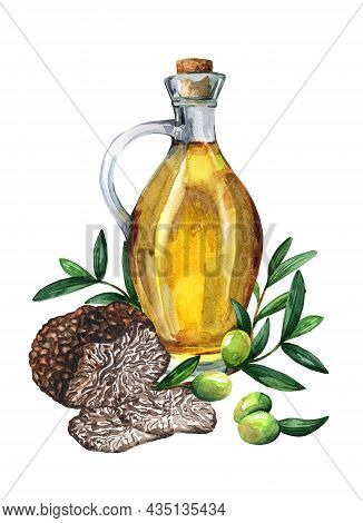 Sunflower Oil In Decanter And  Truffle. Branch Of Olives. Watercolor Illustration Isolated On White