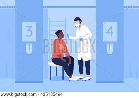 Taking Medical Sample Flat Color Vector Illustration. Health Checkup. Clinical Diagnostics. Patient