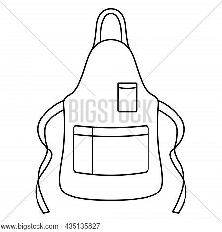 Barbecue Apron. Sketch. Overalls With Pockets And Ties For Cooking. Vector Illustration. Coloring Bo