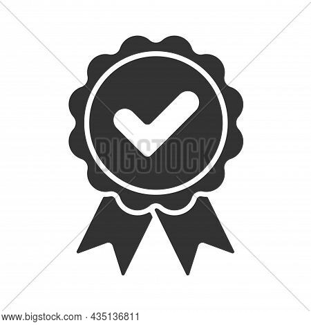 Vector Approved Flat Icon. Certified Medal Icon In Flat Design. Black And White. Vector Illustration
