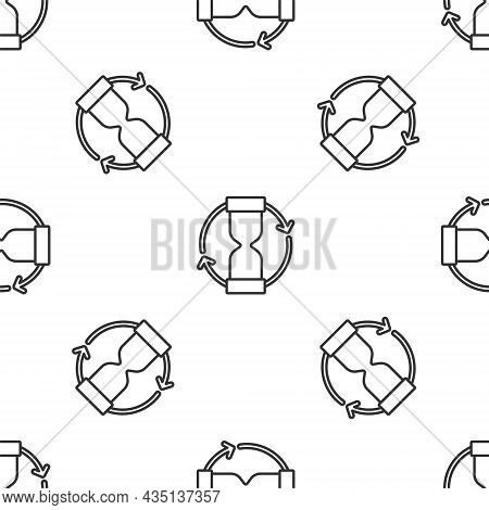 Grey Line Old Hourglass With Flowing Sand Icon Isolated Seamless Pattern On White Background. Sand C