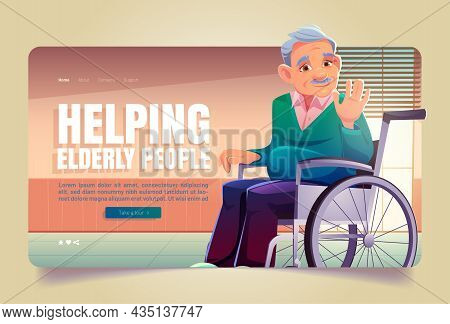 Helping Elderly People Banner. Concept Of Help Old Persons, Aid And Care For Senior People. Vector L
