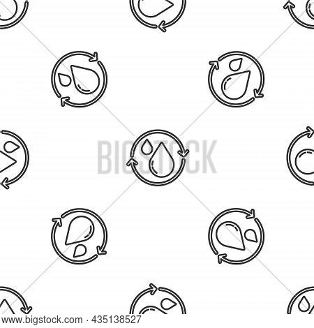 Grey Line Recycle Clean Aqua Icon Isolated Seamless Pattern On White Background. Drop Of Water With