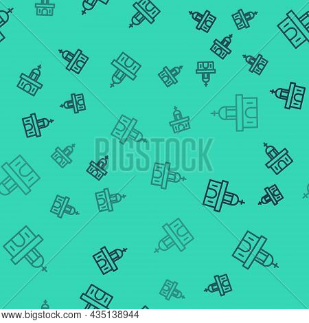 Black Line Church Building Icon Isolated Seamless Pattern On Green Background. Christian Church. Rel