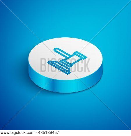 Isometric Line Judge Gavel Icon Isolated On Blue Background. Gavel For Adjudication Of Sentences And