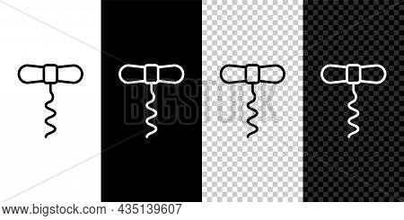 Set Line Wine Corkscrew Icon Isolated On Black And White, Transparent Background. Vector
