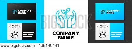 Blue Line Plant In Hand Of Environmental Protection Icon Isolated On White Background. Seed And Seed