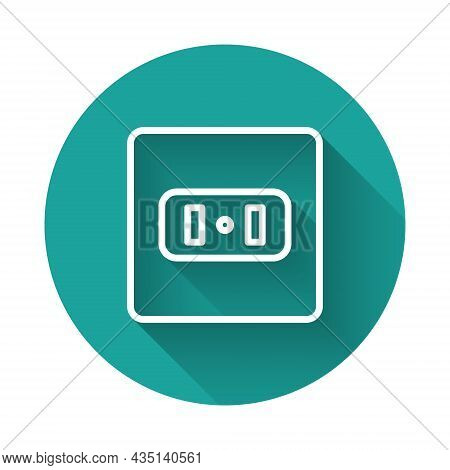 White Line Electrical Outlet Icon Isolated With Long Shadow Background. Power Socket. Rosette Symbol