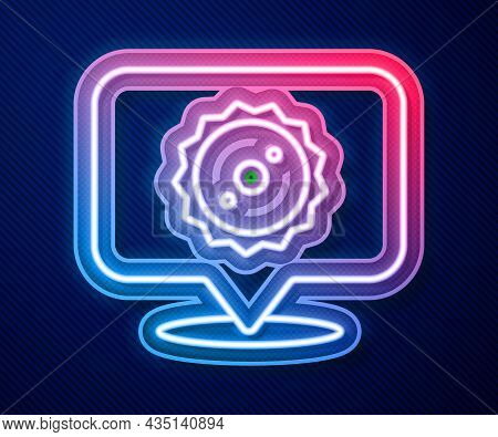 Glowing Neon Line Circular Saw Blade Icon Isolated On Blue Background. Saw Wheel. Vector