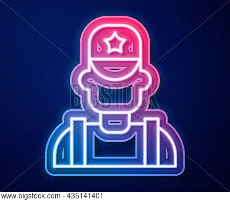 Glowing Neon Line Sheriff Cowboy Hat With Star Badge Icon Isolated On Blue Background. Police Office