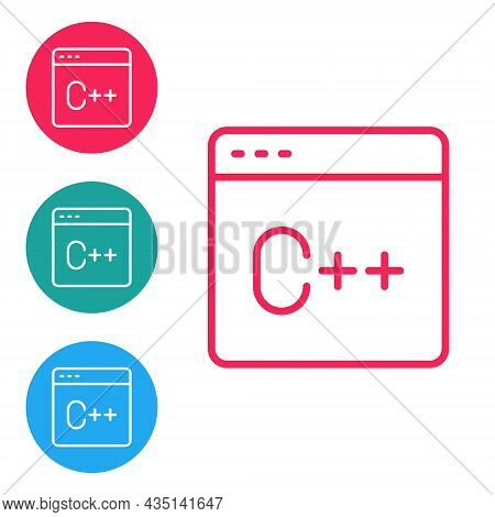 Red Line Software, Web Developer Programming Code Icon Isolated On White Background. Javascript Comp