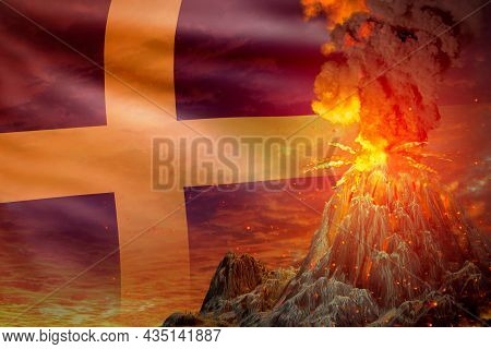 Big Volcano Eruption At Night With Explosion On Sweden Flag Background, Problems Of Natural Disaster