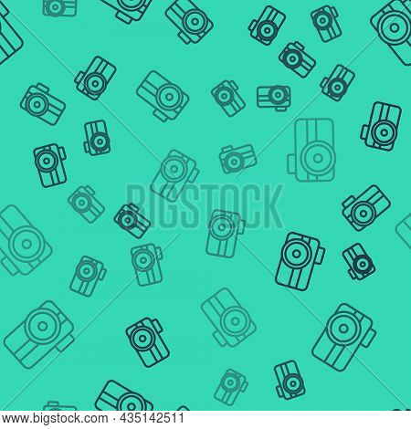 Black Line Photo Camera For Diver Icon Isolated Seamless Pattern On Green Background. Foto Camera Ic