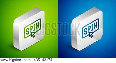 Isometric Line Slot Machine Spin Button Icon Isolated On Green And Blue Background. Silver Square Bu