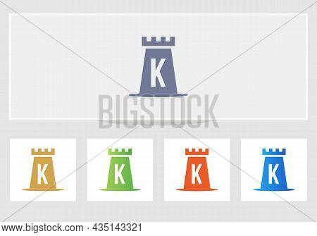 Castle Logo On Letter K. Castle King Logo Design Initial K Letter Concept Vector Template