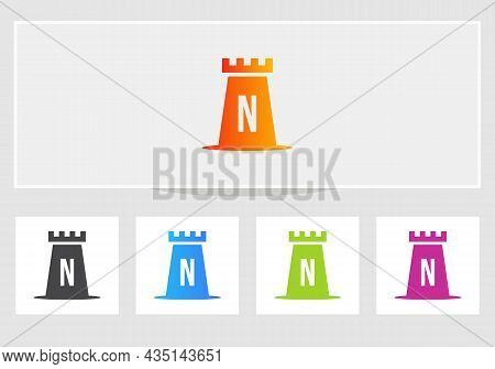 Castle Logo On Letter N. Castle King Logo Design Initial N Letter Concept Vector Template
