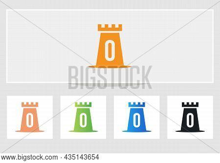 Castle Logo On Letter O. Castle King Logo Design Initial O Letter Concept Vector Template