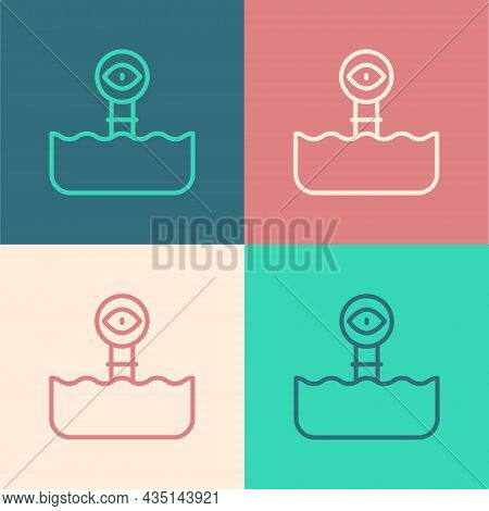 Pop Art Line Periscope In The Waves Above The Water Icon Isolated On Color Background. Vector