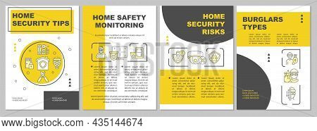 Home Security Tips Yellow Brochure Template. Protection System. Flyer, Booklet, Leaflet Print, Cover