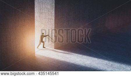 Businessman pushing big wall to reveal new better world. Concept of hope, positive change, bright future. 3D illustration